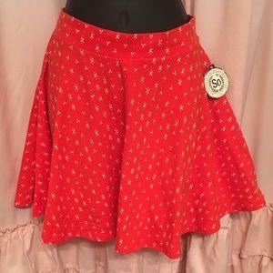 SO red printed skater skirt. NWT size medium